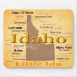 Aged Idaho State Pride Map Silhouette Mousepads