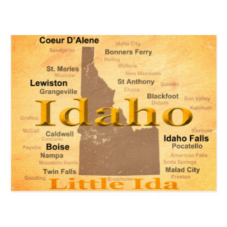Aged Idaho State Pride Map Silhouette Postcard