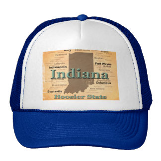 Aged Indiana State Pride Map Silhouette Trucker Hat