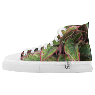Aged leaves pink and green Zipz high top sneakers