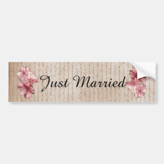 Aged Letter Pink Illustrated Flower Customizable Bumper Stickers