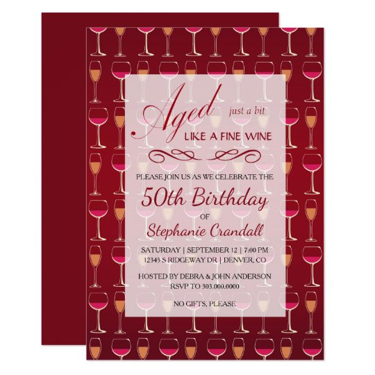 Aged Like Fine Wine Birthday Party Invitation