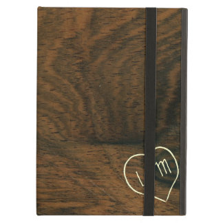Aged Mahogany Faux Wood Texture with engraving Case For iPad Air
