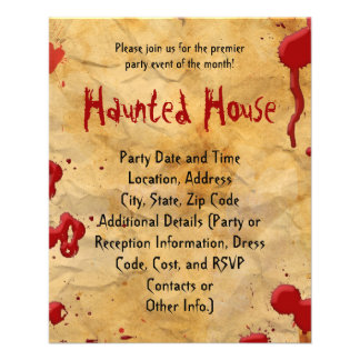 Aged Parchment Blood Splatter Haunted House Flyers