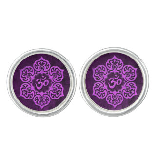 Aged Purple Stone Floral Om Cuff Links