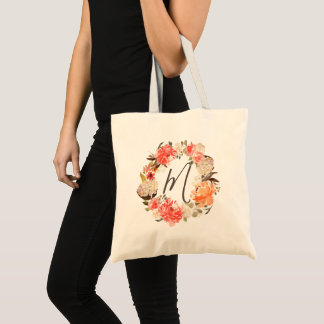 Aged Rust Peach Floral Watercolor Wreath Monogram Tote Bag
