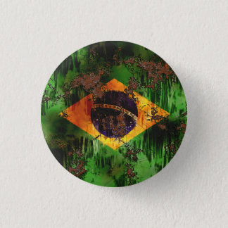 Aged Rusted Brazil Flag 1 Inch Round Button