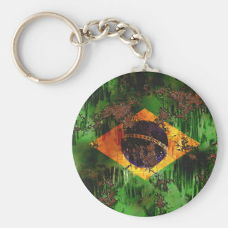 Aged Rusted Brazil Flag Basic Round Button Keychain
