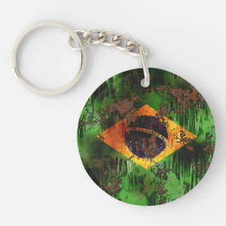 Aged Rusted Brazil Flag Double-Sided Round Acrylic Keychain