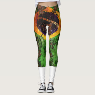 Aged Rusted Brazil Flag Leggings