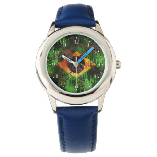 Aged Rusted Brazil Flag Wrist Watch