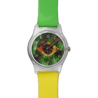 Aged Rusted Brazil Flag Wristwatches