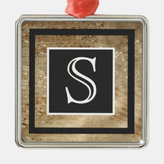 Aged Sheet Music Paper Monogram Silver-Colored Square Ornament