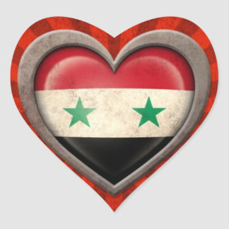 Aged Syrian Flag Heart with Light Rays Heart Sticker