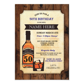 Aged to Perfection Birthday Whisky Invitations