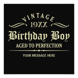 "Aged to Perfection Funny Birthday 5.25"" Square Invitation Card"