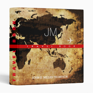 aged travel-book, cool brownish world map 3 ring binder