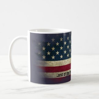 Aged US Flag. Land of the Free, Home of the Brave Coffee Mug