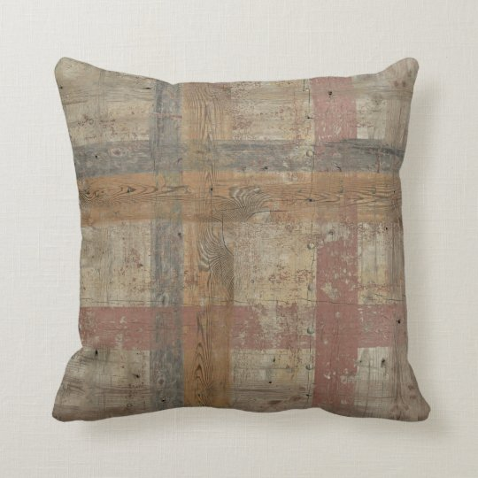 Aged Wood Pattern Modern Style Pastel Colour Throw Pillow