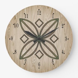 Aged Wood with Digital Design by Julie Everhart Large Clock