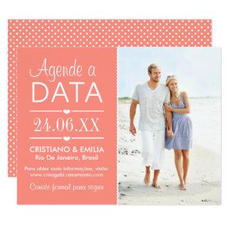 Agende a Data Foto Cartão  | Cores Rosa e Branco Card