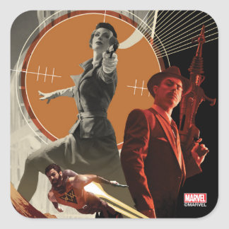 Agent Carter And Howard Stark Collage Square Sticker