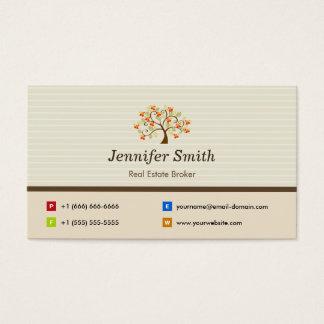 Agent immobilier - symbole élégant d'arbre cartes de visite