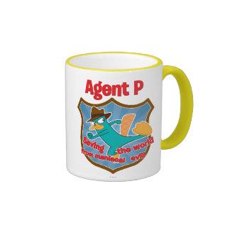 Agent P Saving the world from maniacal evil Badge Ringer Coffee Mug