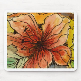 Aggelikis Hibiscus Watercolour Mouse Pad