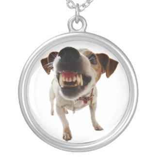 Aggressive dog - angry dog - funny dog silver plated necklace