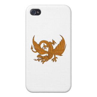 Aggressive Dragon Crouching Drawing Cover For iPhone 4