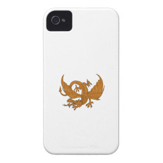 Aggressive Dragon Crouching Drawing iPhone 4 Case