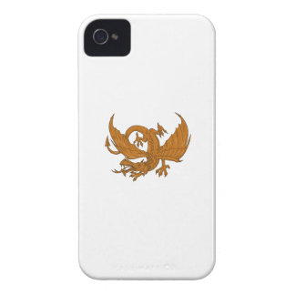 Aggressive Dragon Crouching Drawing iPhone 4 Covers