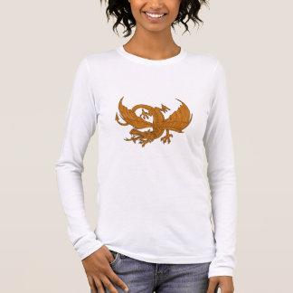 Aggressive Dragon Crouching Drawing Long Sleeve T-Shirt