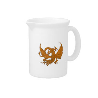 Aggressive Dragon Crouching Drawing Pitcher