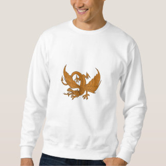 Aggressive Dragon Crouching Drawing Sweatshirt