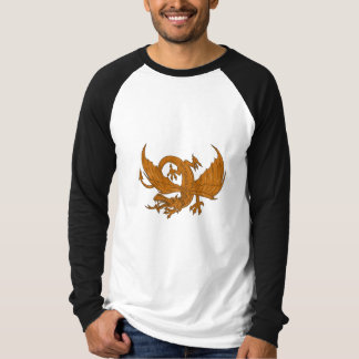 Aggressive Dragon Crouching Drawing T-Shirt