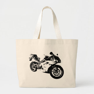 aggressive sport motorcycle large tote bag