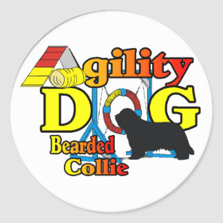 Agility Bearded Collie Gifts Round Sticker