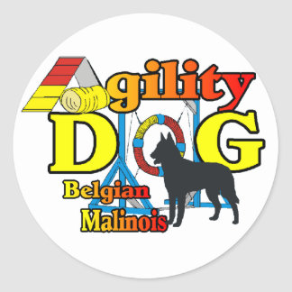 Agility Belgian Malinois Gifts Classic Round Sticker