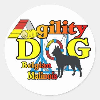 Agility Belgian Malinois Gifts Round Sticker
