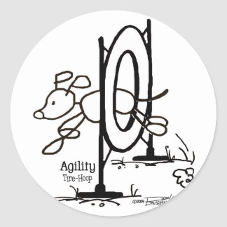 Agility Tire - Stick Dog Classic Round Sticker