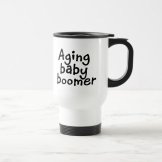 Aging baby boomer stainless steel travel mug