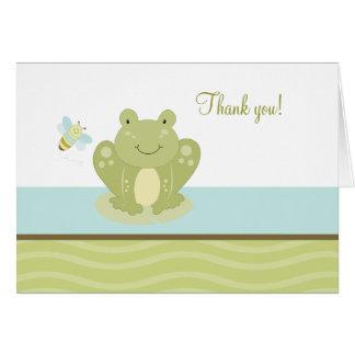 Agitez la grenouille et la carte de note pliée par