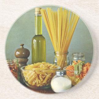 aglio, olio e peperoncino (garlic, oil and chili) beverage coaster