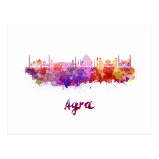 Agra skyline in watercolor postcard