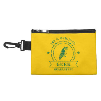 Agrafe 100% verte de hibou de geek sur le sac trousse à accessoires