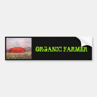 agriculteur organique avec la grange rouge autocollant de voiture