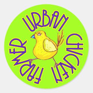 Agriculteur urbain de poulet sticker rond