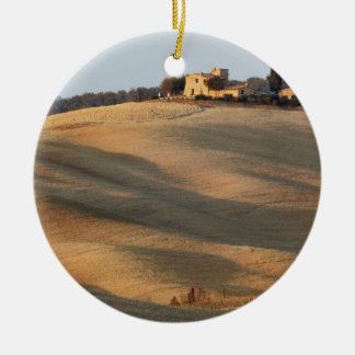 Agricultural field at sunset, Val d'Orcia, Tusca Round Ceramic Ornament